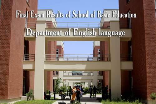 Final Exam Results of School of Basic Education, Department of English language.